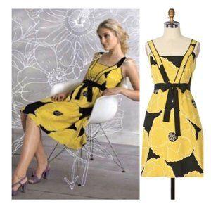 Anthrpologie Moulinette Soeurs Brighter Seasons Silk Gold Floral Dress Size 2